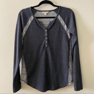 Lucky Brand Gray Long Sleeve Henley Thermal Medium